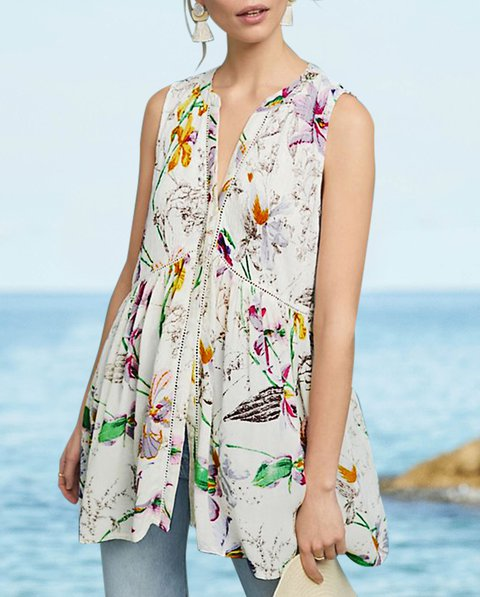 Printed Paneled Cotton Floral Sleeveless V Neck Tops