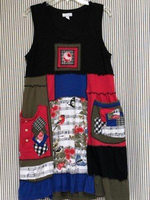 Plus Size Midi Dresses Women Summer Sleeveless Crew Neck Vintage Floral Dresses