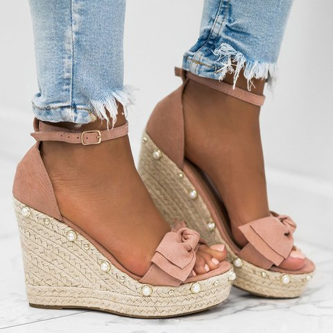 Plus Size Bowknot Espadrille Wedge Buckle Sandals