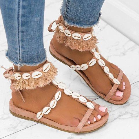 Plus Size Seashells Comfy Footbed Flat Sandals