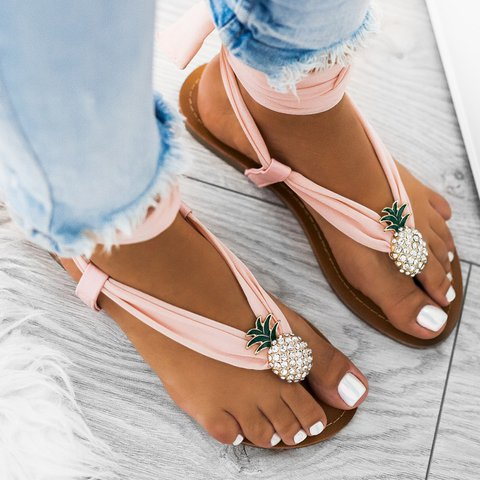 Plus Size Pinepapple Flip Flops Fabric Thong Sandals