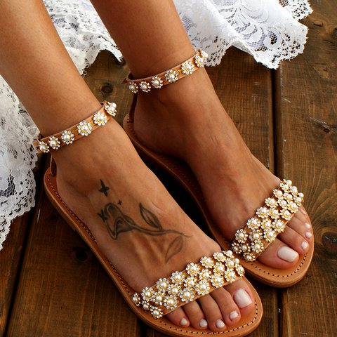 Brown Imitation Pearl Open Toe Buckle Strap Summer Sandals