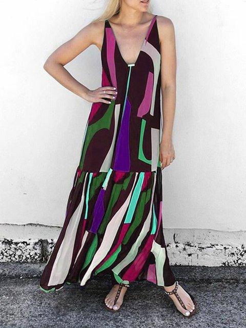 Plus Size Maxi Dresses Summer Sleeveless V Neck Boho Dresses