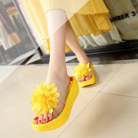 Slide Flower Wedge Heel Summer Pu Thong Slippers