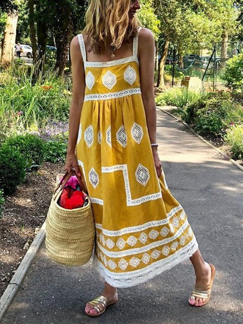 Bohemian Loose Casual Plus Size Sleeveless Maxi Dress