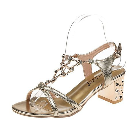 Date Chunky Heel Open Toe Buckle Sandals