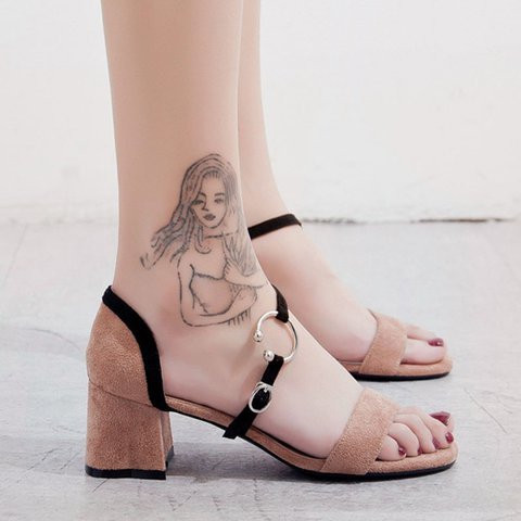 Date Chunky Heel Open Toe Suede Buckle Sandals