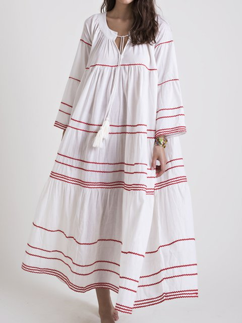 Embroidered Striped V Neck Shift Plus Size Maxi Dresses