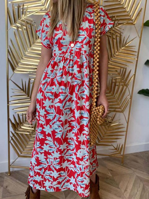 ff859a1f5e Justfashionnow Party Dresses Floral Dresses Kaftan Going Out V Neck Holiday  Short Sleeve Printed Dresses
