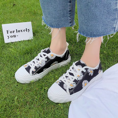 Flower Detail Lace Up All Season Canvas Sneakers