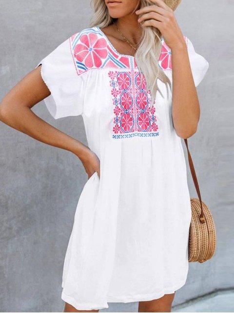 White Short Sleeve Floral Dresses