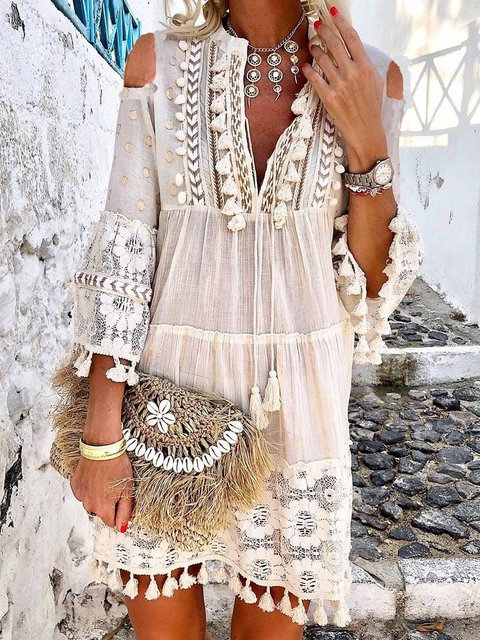 V Neck Elegant Cotton-Blend Dresses