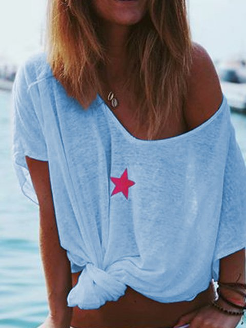 Women Plus Size T Shirts Summer Short Sleeve V Neck Star Printed Tops