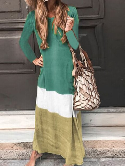 Long Sleeve Casual Color-Block Crew Neck Maxi Dresses