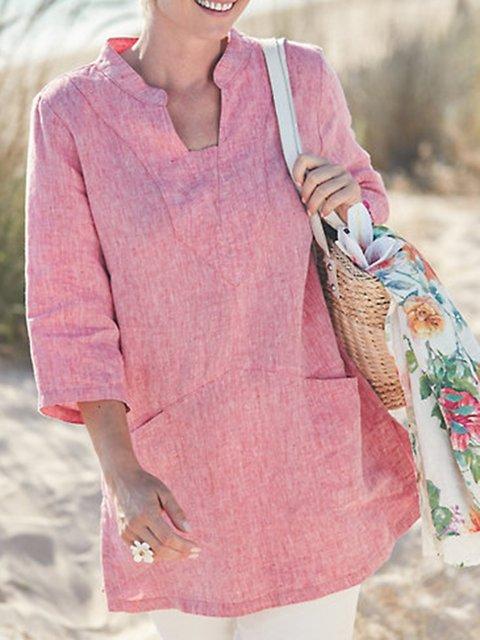 3/4 Sleeve Plain Stand Collar Cotton Shirts & Tops