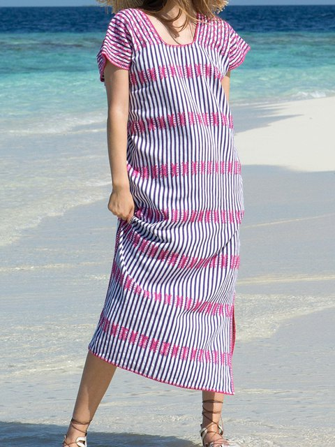 Printed Stripes Women Dresses Going Out Boho Cotton Embroidered Dresses
