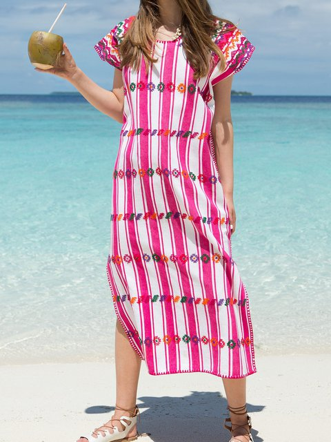 Printed Crew Neck Women Dresses Going Out Boho Embroidered Tribal Dresses