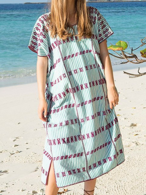 Printed Slit Crew Neck Women Dresses Going Out Cotton Paneled Dresses