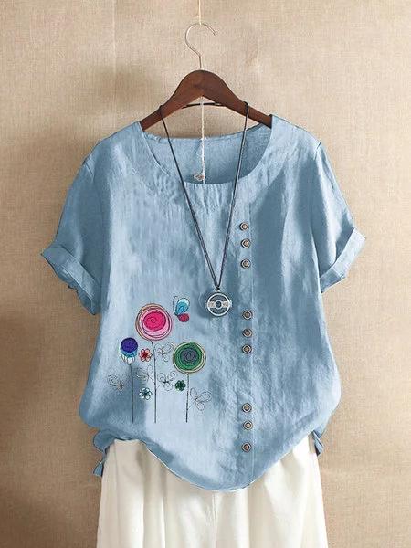 Short Sleeve Cartoon Floral Print Casual T-shirt
