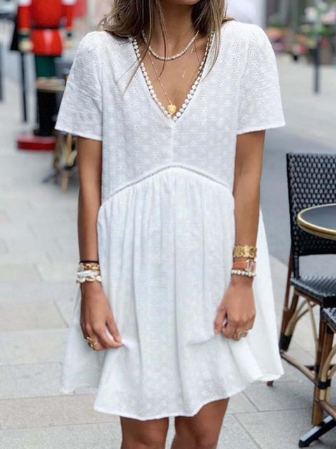 Short Sleeve Shift Skirts With Necklace