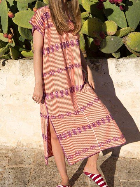 Tribal Crew Neck Women Dresses Going Out Cotton Stripes Dresses