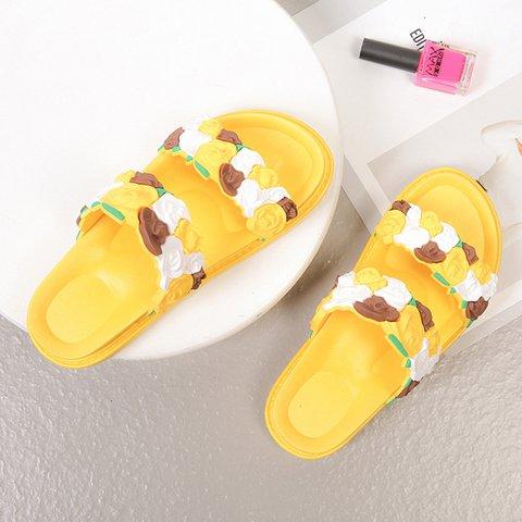 Flower Open Toe Casual Slide Sandals