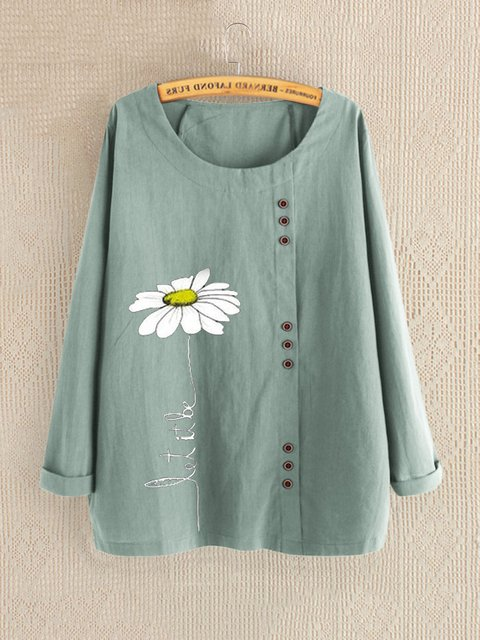 Casual Floral Print Daisy Button Long Sleeve Shirt
