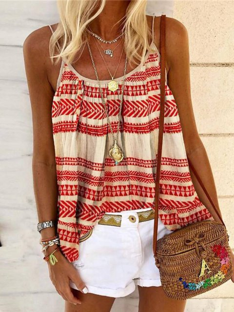 Red Sleeveless Casual Striped Cotton-Blend Shirts & Tops