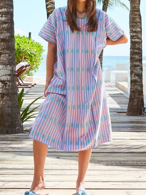 Crew Neck Women Dresses Going Out Paneled Boho Embroidered Dresses