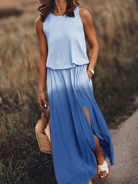 Women Dip-dye Pockets Slit Maxi Dresses