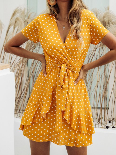 V Neck Women Summer Caftans A-Line Daily Casual Polka Dots Dresses