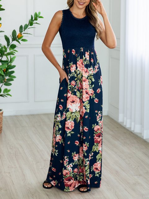 Round Neck Women Caftans Shift Daily Floral Dresses