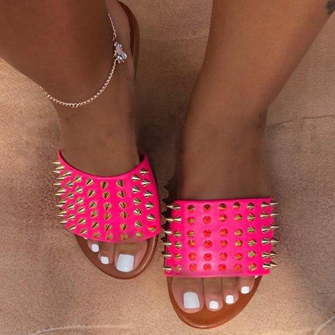 Women Rivet Slip-On Flat Summer Slide Sandals