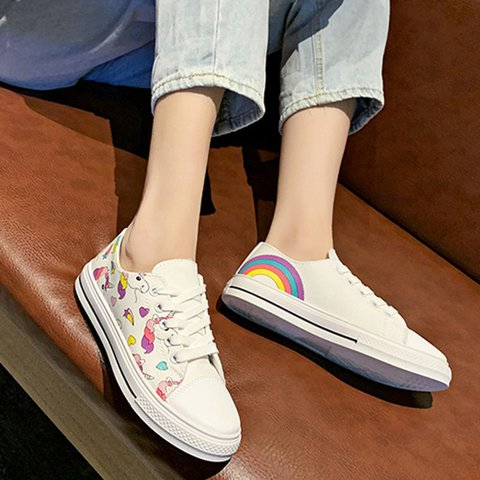 Round Toe Printed Canvas Casual Lace-Up Sneakers