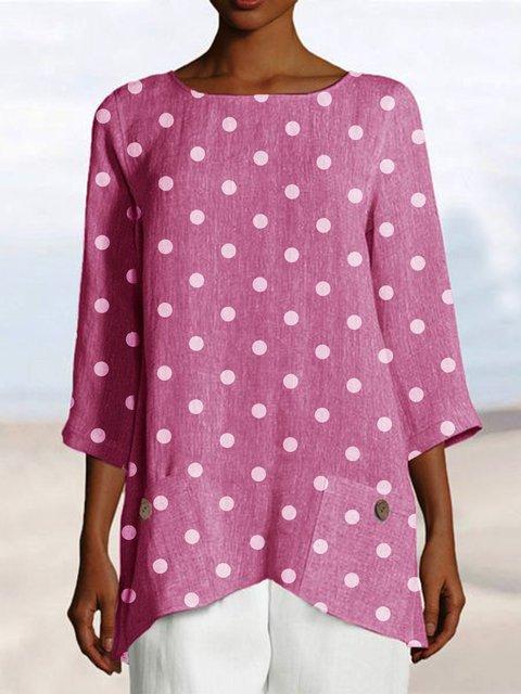 Women Linen Tops Polka Dots Pockets Casual Blouses