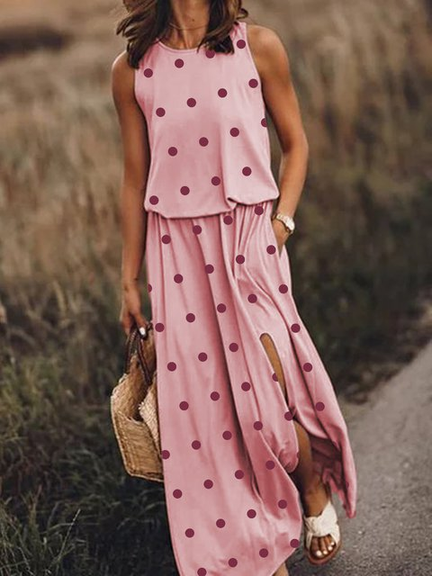Women Pockets Polka Dots Slit Maxi Dresses