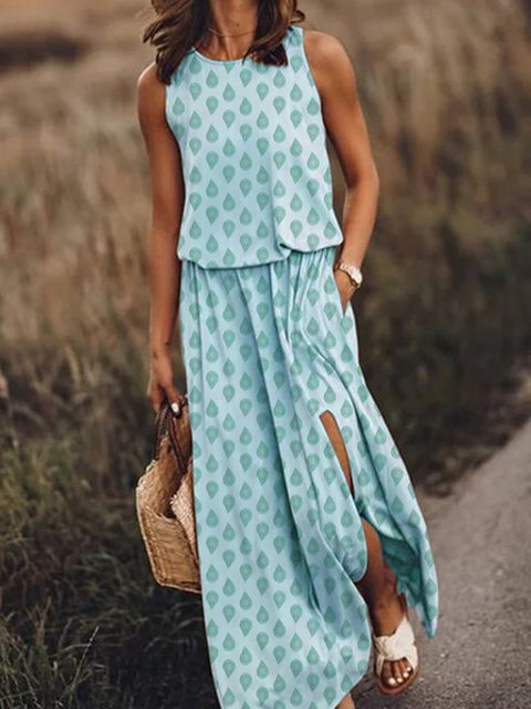 Women Pockets Slit Printed Maxi Dresses