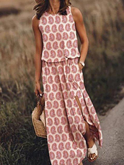 Women Paisley Print Slit Shift Maxi Dresses