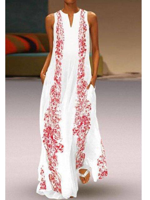 White Sleeveless Floral Dresses