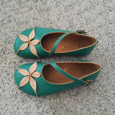 Green Daily Buckle Vintage Soft Flats