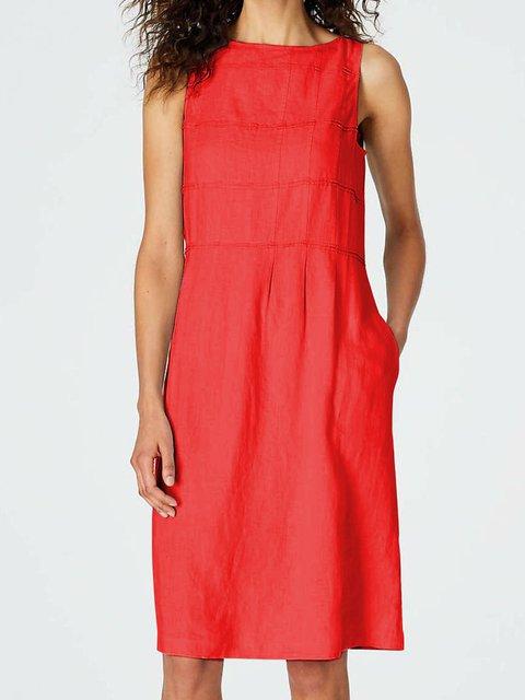 Plus Size Midi Dresses Women Summer Solid Sleeveless Crew Neck Dresses