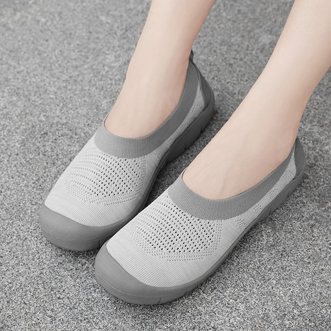 Comfy Slip-On Fly-Woven Fabric Breathable Flat Women Loafers