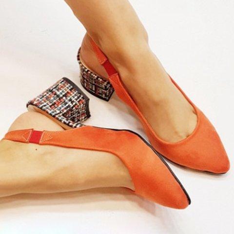 Elegant Chunky Heel Pointed Toe Slingback Heels