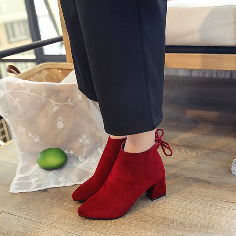 Chunky Heel Lace-Up Faux Suede Boots Casual Ankle Booties