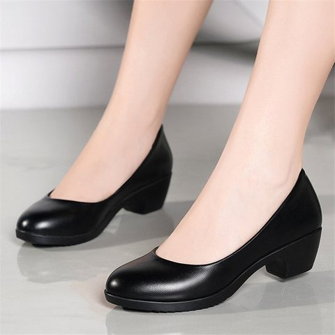 Chunky Heel Slip On Work Shoes All Season Black Shoes