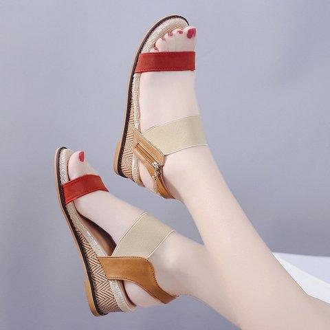 Side Zipper Open Toe Wedge Heel Summer Sandals