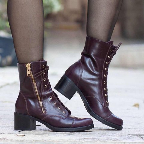 Pu Chunky Heel Winter Boots Lace Up Mid-Calf Boots