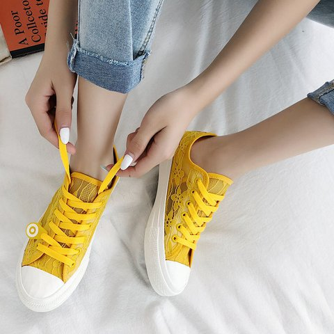Flat Heel Cloth Lace-Up Sneakers Lace Details Round Toe Shoes