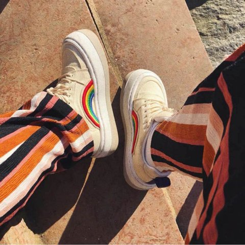 Rainbow Lace-Up Platform Round Toe Canvas Sneakers