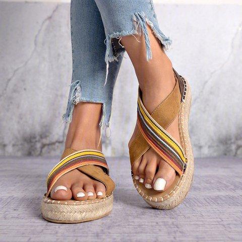 Bohemian Slip-On Straw Platform Sandals Women